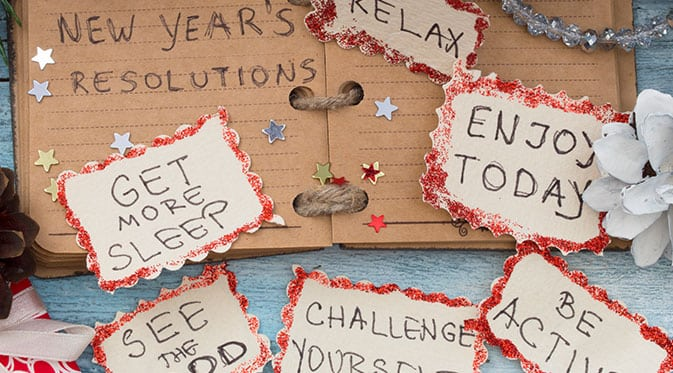 new years resolutions on table