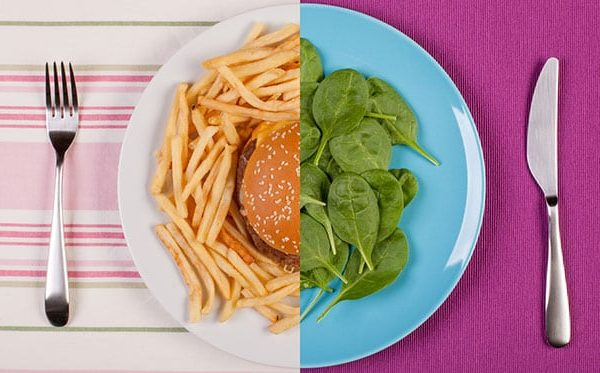 plate with salad and a hamburger