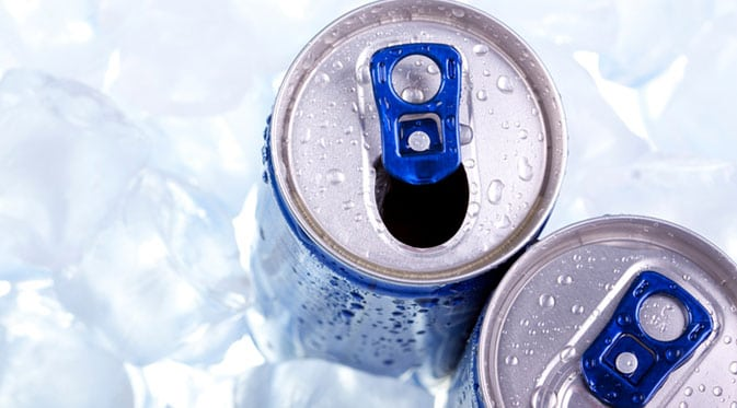 close up of energy drink cans